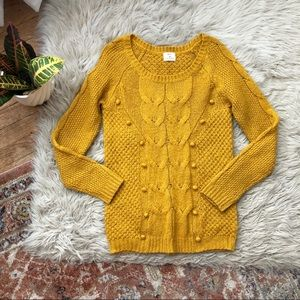 UO Pins + Needles Mustard Bobble Knit Sweater